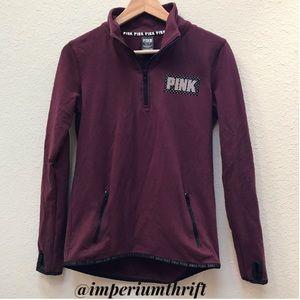 VS PINK Maroon Quarter Zip Jacket